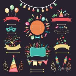 Set of different party decoration elements including lights, confetti, balloons, fireworks and masks.