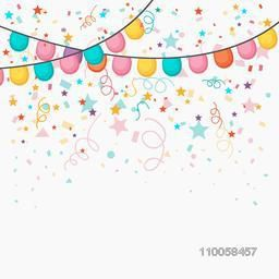 Festive celebration background with colorful balloons and confetti decoration.