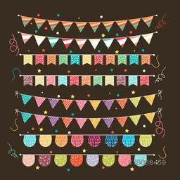 Various design of colorful buntings for party or carnival decoration.