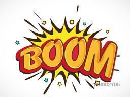 Comic speech bubble design with bursting text Boom in 3D style.