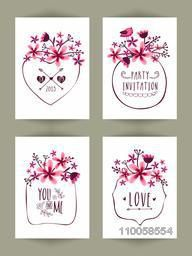 Beautiful pink flowers decorated hand drawn invitation cards set.