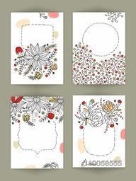 Beautiful hand drawn floral design decorated greeting card with space for your message.
