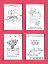 Set of invitation cards decorated with beautiful hand drawn designs.
