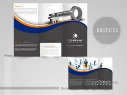 Professional tri-fold flyer, brochure or template for business concept, can be use as print and presentation.