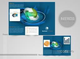 Professional three fold flyer, template or brochure for business purpose with infographic symbol.