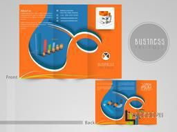 Professional three fold flyer, template or brochure with infographic elements for your business presentation.
