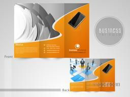 Professional three fold flyer, template or brochure with infographic symbols and technology for business purpose.