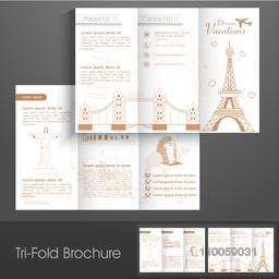 Stylish trifold brochure, catalog and flyer for holidays vacations purpose.