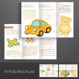 Professional trifold brochure, catalog and flyer template for toys business purpose.