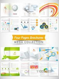 Set of four pages professional and ecological brochures or flyers presentation for your business.