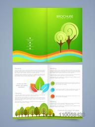 Beautiful nature brochure or flyer concept with place holders, Including front and back pages for your corporate purpose.