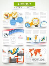Two sided presentation of professional three fold brochures or flyers for corporate sector.