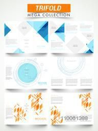 Mega collection of professional three fold flyers or brochures design with front and back side presentation.
