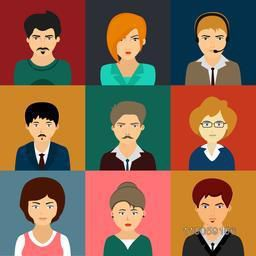 Colorful set of young male and female business characters or avatars.