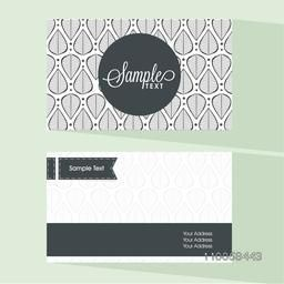 Front and back side presentation of floral business card or visiting card with place holder for professional details.