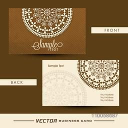 Beautiful floral design decorated business card with front and back side presentation.