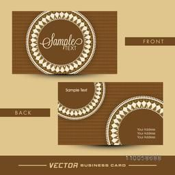 Two sided presentation of a floral design decorated brown business card with place holders for your content.