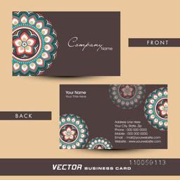Front and back side presentation of traditional floral design decorated business card with place holders for your professional details.