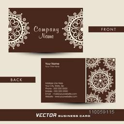 Professional business card presentation decorated with traditional floral design for your Company.