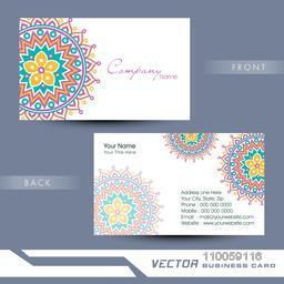 Beautiful floral design decorated two sided business card design with place holders for contact details.
