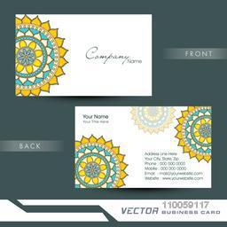 Two sided business card with proper place holders for your content decorated with floral design.