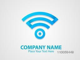 Stylish blue colour business symbol on shiny grey  background.