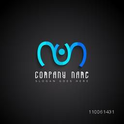 Stylish blue creative business symbol for your company on black background.
