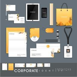 Stylish corporate identity kit for business including Letterhead, Envelope, Visiting Card, Identity Card, Tablet, Smartphone and stationery items.