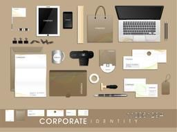 Professional corporate identity kit with colorful waves including Letterhead, File Folder, Visiting Cards, Envelopes, CD, Laptop, Smartphone and stationery.