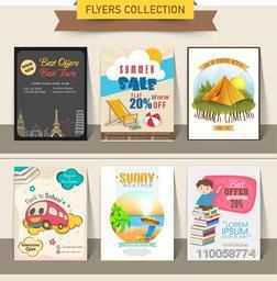 Stylish flyer collection of Summer Sale, Tour and Travels and Back to School.