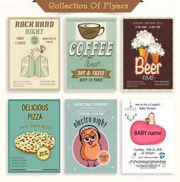 Stylish vintage flyer collection for Music, Beer Bar, Cafe, Restaurant and Baby Shower.