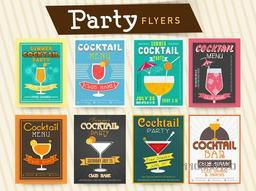 Collection of cocktail party celebration flyer, template or banner design.