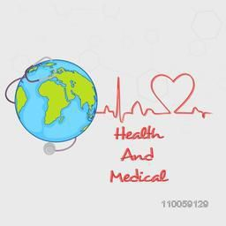 Doctor's stethoscope around the globe for Health and Medical concept on molecules background.