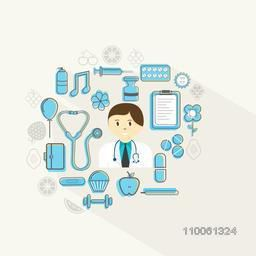Illustration of a doctor and medical objects on grey background for Health and Medical concept.