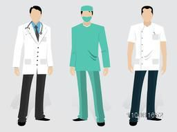 Set of Medical characters including a young Doctor, Surgeon and Dentist in uniform on grey background.