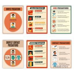 Set of six Flyers showing precautions of Droplet Virus, Ebola Virus, H1N1 Virus, Airborne Virus and Droplet Contact Virus for Health and Medical concept.