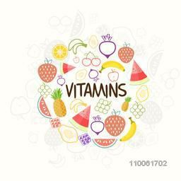 Set of nutritious and vitamin rich fruits for Health and Medical concept, can be used as poster, banner or flyer design.