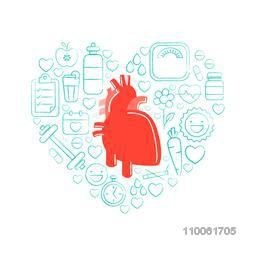 Red human heart with different infographic elements to keep it healthy and fit on white background for Health and Medical concept.