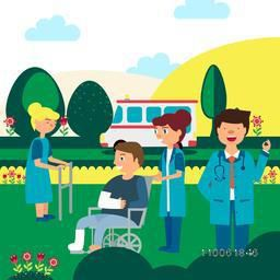 Cartoon of smiling doctor, nurse and injured patients with an ambulance on nature background for Health and Medical concept.