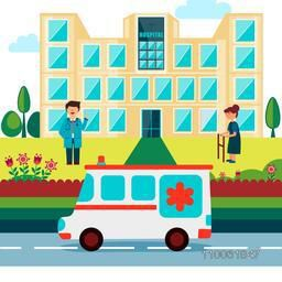 Cartoon of a doctor with patient standing outside of a hospital and an ambulance on the road.