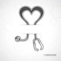 Health and medical concept with illustration of a stethoscope forming heart shape.