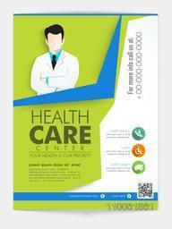 Stylish template, brochure or flyer design with young doctor illustration for Health Care Center.