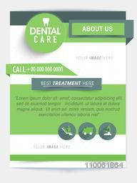 Dental Care flyer or template with medical icons and proper place for image and content.