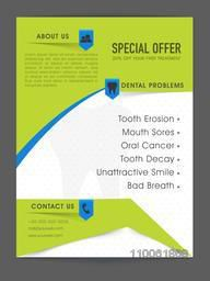 Creative Medical flyer or template with special offer on your first treatment of Dental problems.