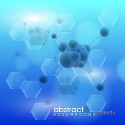 Shiny blue abstract molecules background for Health and Medical concept.