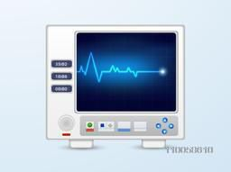 Ecg monitor with heart beat lines on sky blue background for Health and Medical concept.