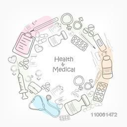 Health and Medical concept with various medical objects.