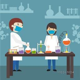 Cartoon of young scientists doing research in a laboratory.
