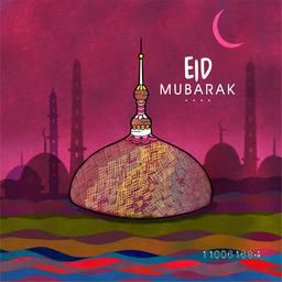 Islamic famous festival, Eid Mubarak celebration with creative Mosque in night view background.