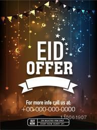 Eid offer poster, banner or flyer design decorated with hanging moons and stars on shiny mosque silhouette background.